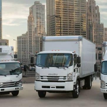Isuzu NPR Diesel Box Trucks in city