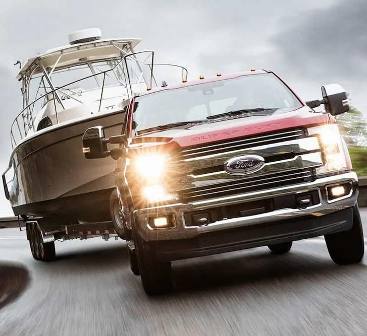 2019 Ford Super Duty Towing a Boat