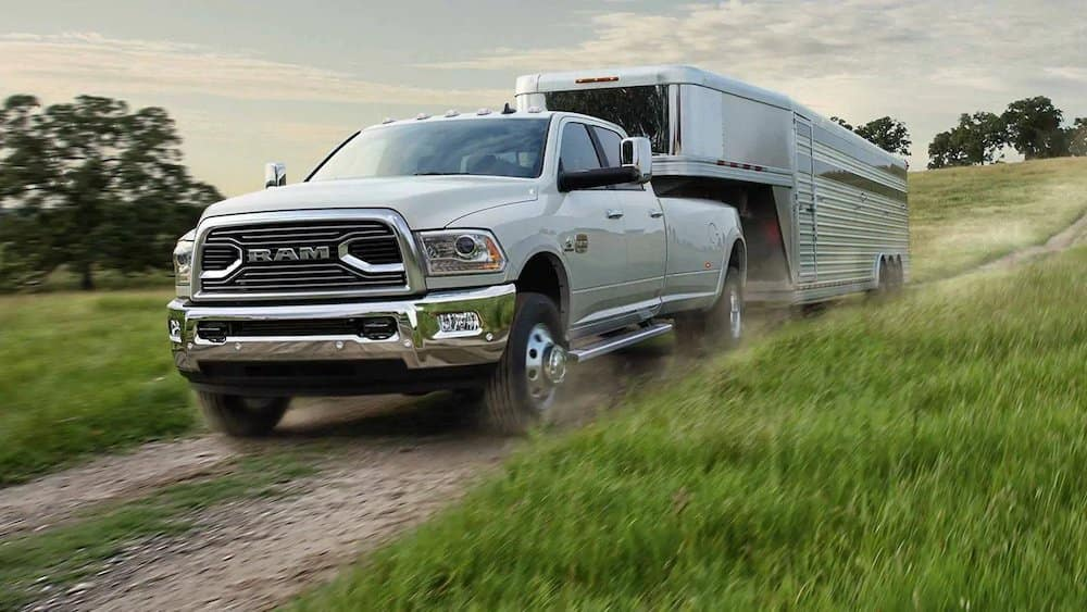 2018 Ram 3500 towing a trailer