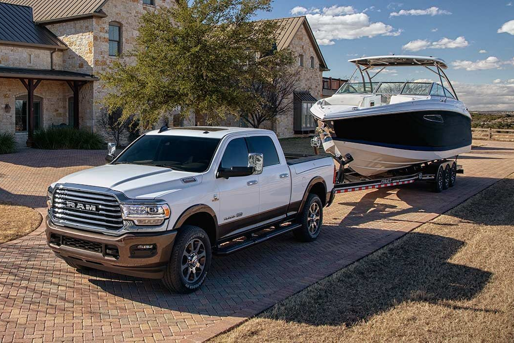 2019 Ram 2500 towing a boat