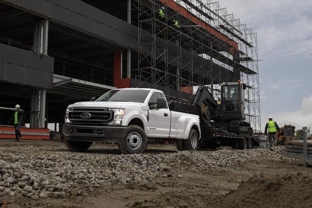 2020 Ford Super Duty towing on a construction site
