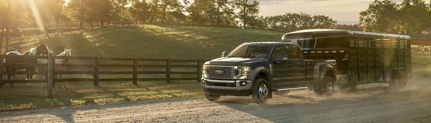 2020 Ford Super Duty on a dirt road