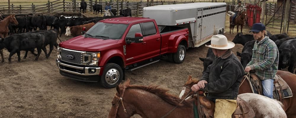 2020 Ford F-450 Lariat pulling a trailer