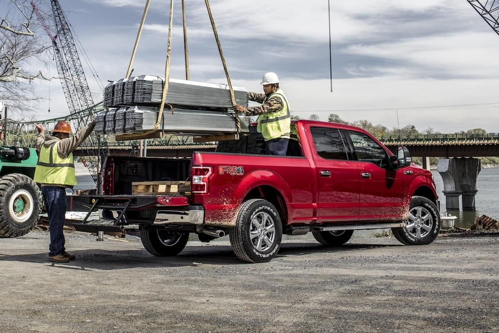 2020 Ford F-150 XLT having its bed loaded