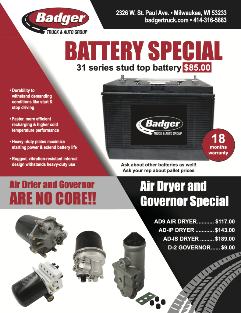 Battery Special. Air Dryer and Governor Special.