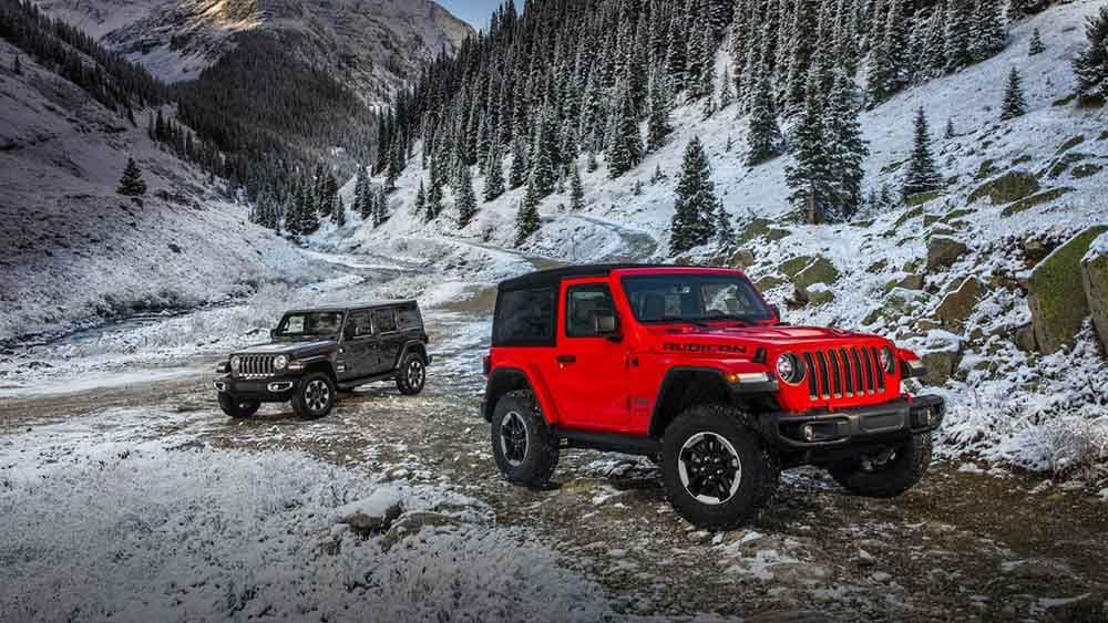 2018 Jeep Wrangler 2-Door and 4-Door Models in the mountains