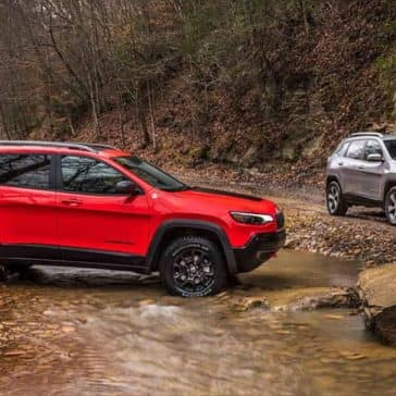 2019 Jeep Cherokee two models in the mud
