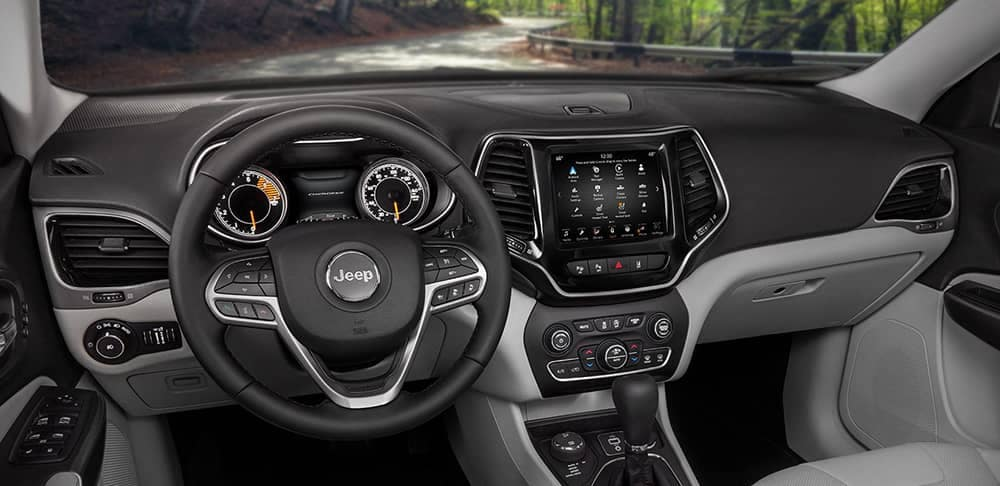 2019 Jeep Cherokee dash and steering wheel view