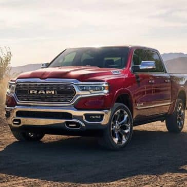 2019 Ram 1500 in red on the farm