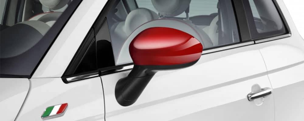 2017 Fiat 500 Red Colored Mirror Caps