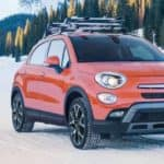 2018 Fiat 500X driving over snow