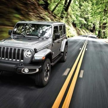 2019 Jeep Wrangler driving down the road in a forest