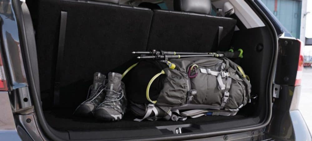 Cargo area inside a 2019 Dodge Journey loaded with hiking gear