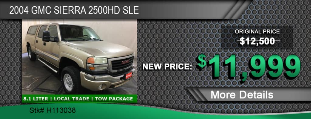 $11,999 Offer on a Used 2004 GMC Sierra 2500HD SLE