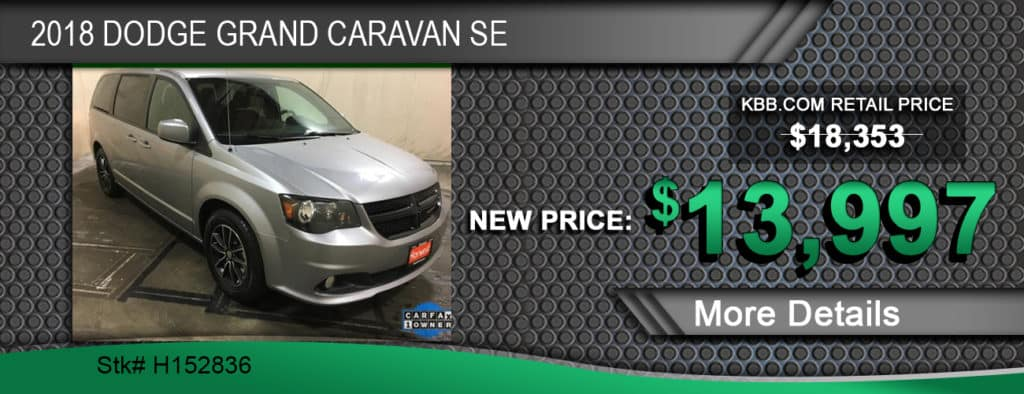 $13,997 Offer on a Used 2018 Dodge Grand Caravan SE