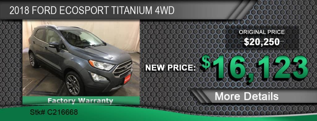 $16,123 Offer on 2018 Ford EcoSport Titanium 4WD
