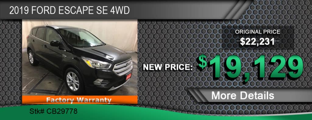 $19,129 Offer on a Used 2019 Ford Escape SE 4WD