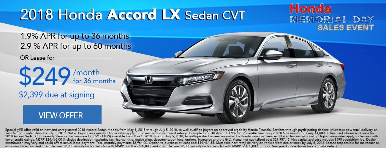 2018 Honda Accord LX Lease