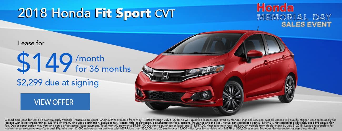 2018 Honda Fit Sport Lease