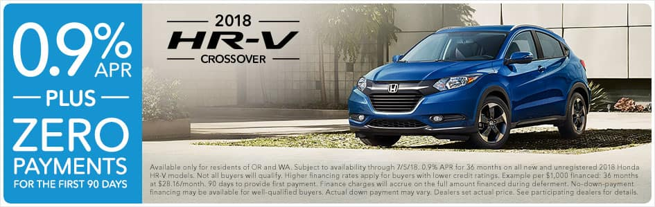 2018 Honda HR-V 0.9% APR