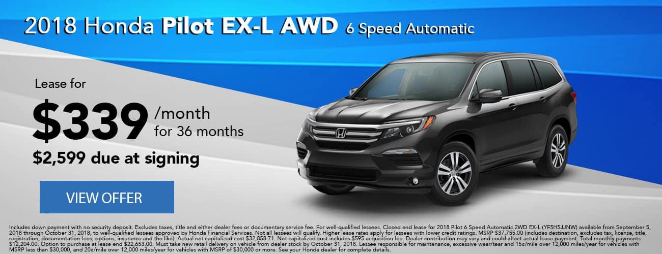 Lease 2018 Honda Pilot EX-L AWD