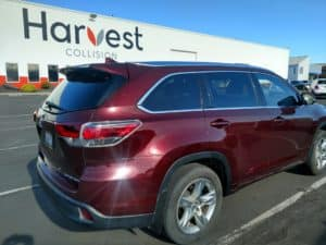 A vehicle after collision services at Harvest collision