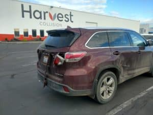 A vehicle before service at Harvest collision