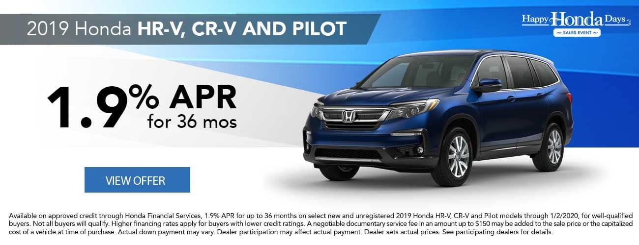 2019 Honda HR-V, CR-V, and Pilot APR Special