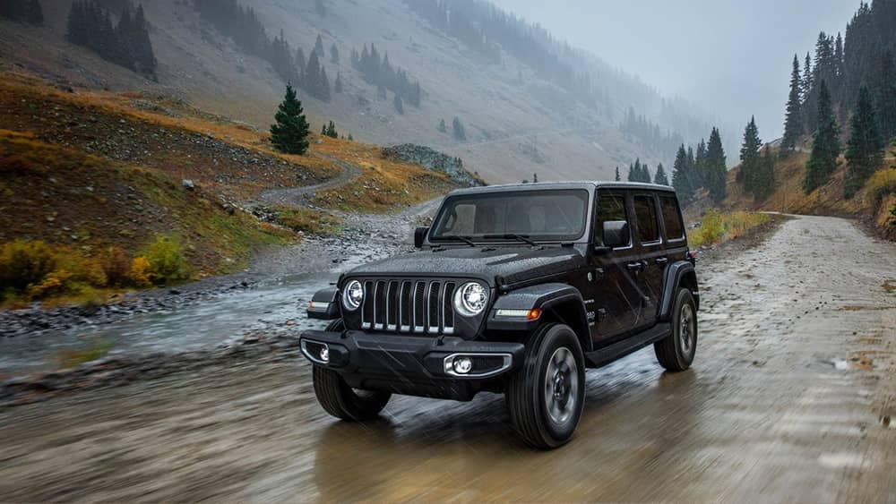 2018 Jeep Wrangler on wet road