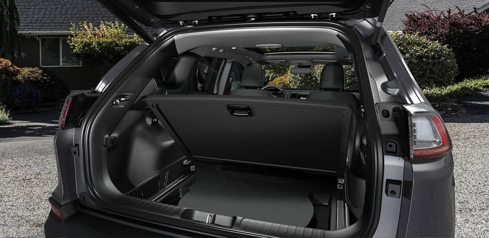 2019 Jeep Cherokee hidden rear cargo space in floor