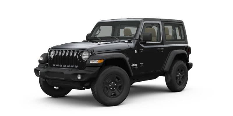 Black 2-door Jeep Wrangler