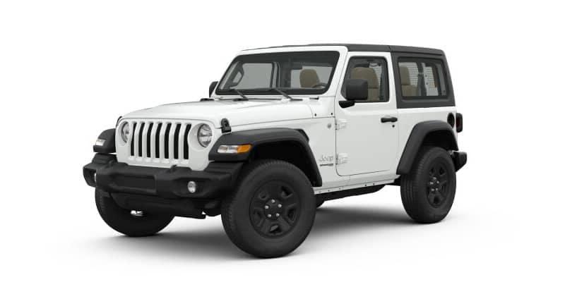 White 2-door Jeep Wrangler