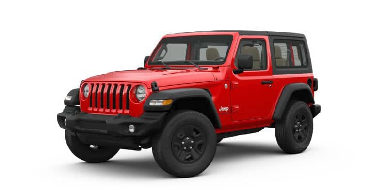 Red 2-door Jeep Wrangler