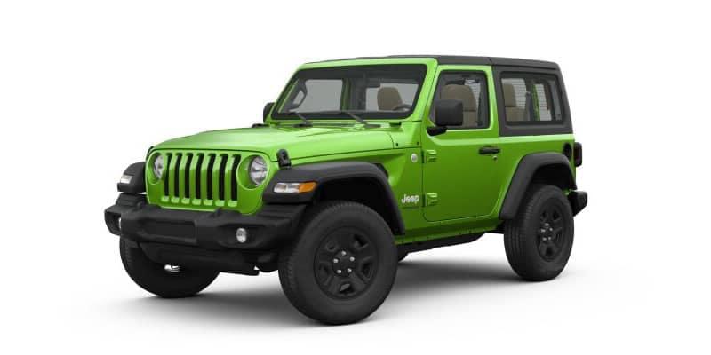 Green 2-door Jeep Wrangler