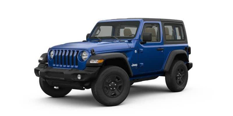 Blue 2-door Jeep Wrangler
