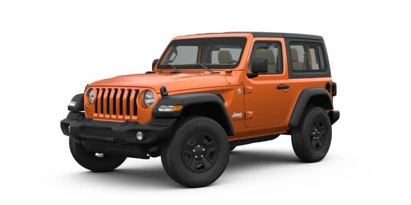 Orange 2-door Jeep Wrangler