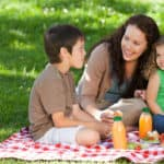 Family on a picnic in park