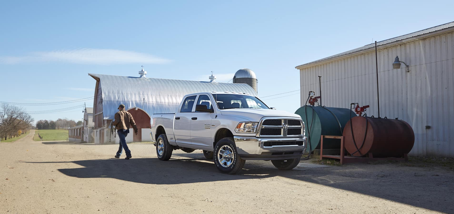 RAM truck outside barn