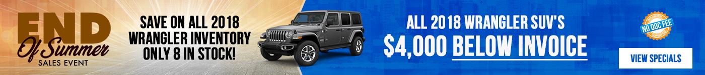2018 Jeep Wrangler & Wrangler Unlimited Sale