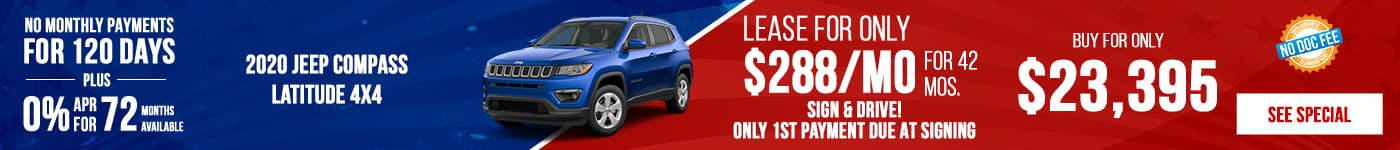 New 2020 Jeep Compass Just $288/mo!