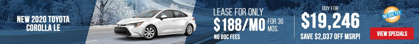 New 2020 Toyota Corolla LE Just $188/mo Only First Payment Due At Signing!