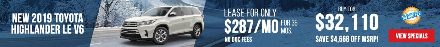 2019 Toyota Highlander LE V6 AWD Just $287/mo