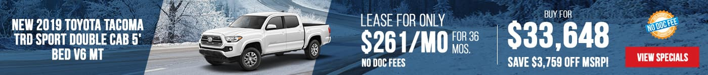 New 2019 Toyota Tacoma Just $261/mo Only First Payment Due At Signing!