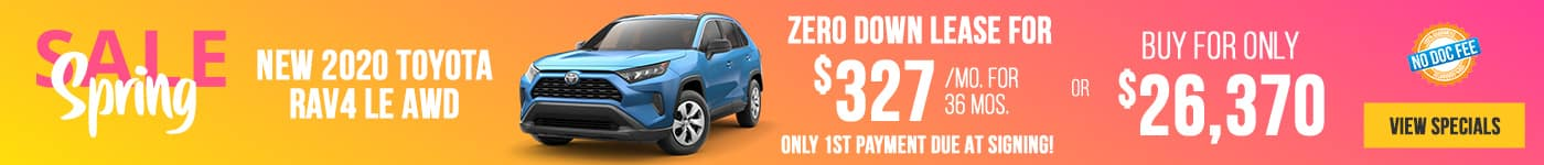 New 2020 Toyota RAV4 LE AWD Just $327/mo Only First Payment Due At Signing!