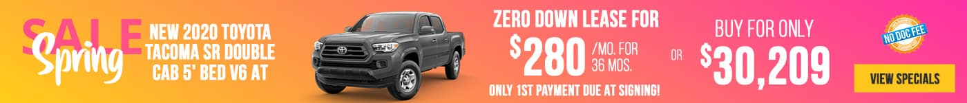 New 2020 Toyota Tacoma Just $280/mo Only First Payment Due At Signing!