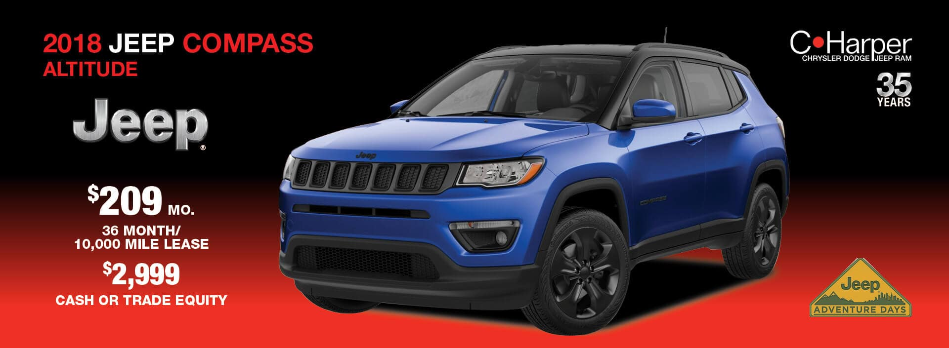 Lease a 2018 Jeep Compass for $209 a month / 36 months
