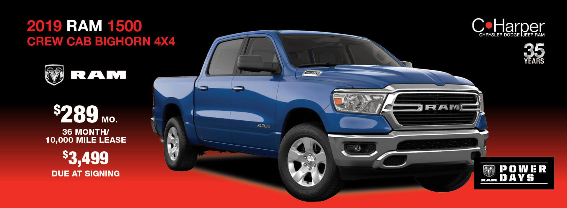 Lease a 2018 Ram 1500 for $289 a month / 36 months