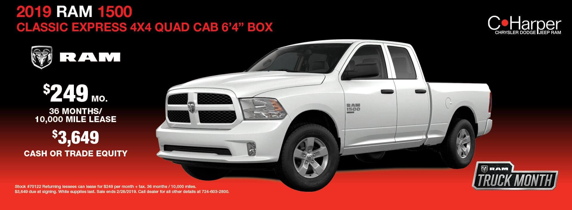 """2019 Ram 1500 Classic Express 4×4 Quad Cad 6'4"""" Box"""