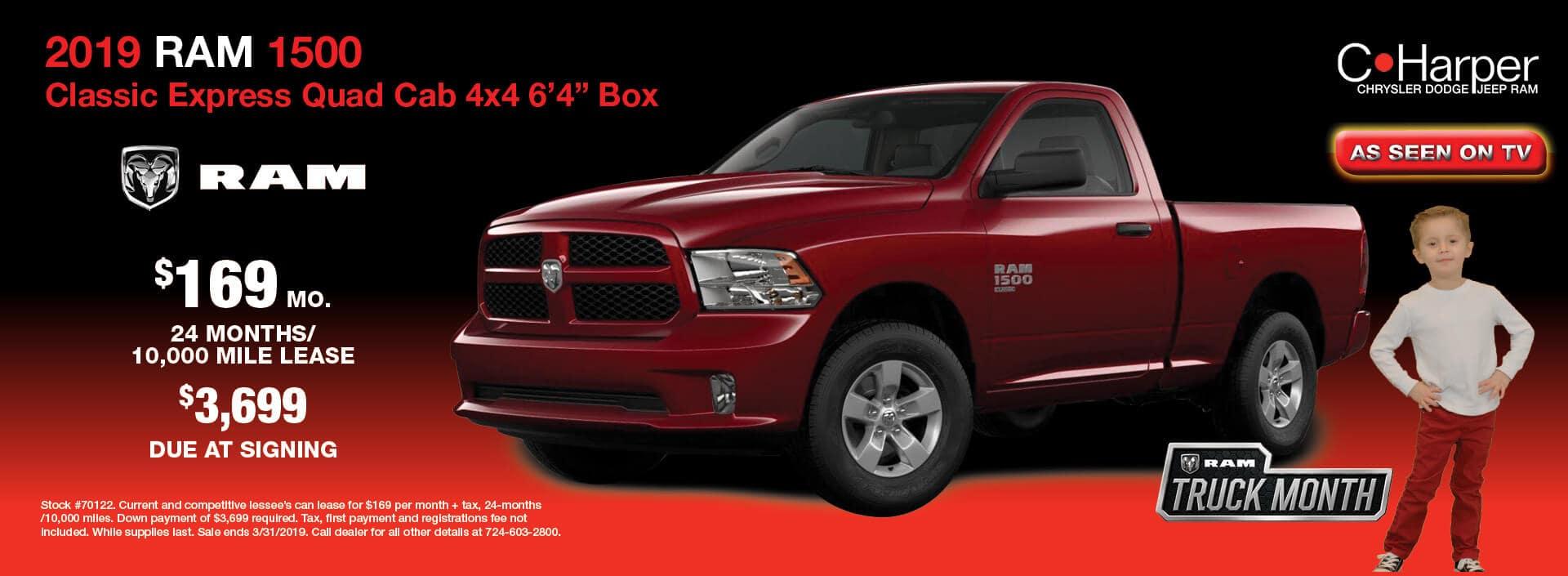 "2019 Ram 1500 Classic Express Quad Cab 4X4 6'4"" Box"