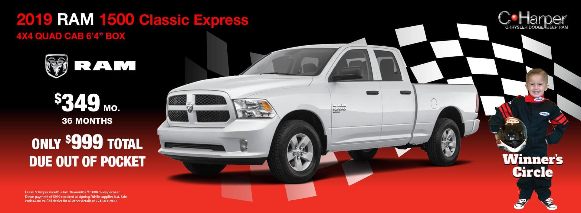 "2019 Ram 1500 Classic Express 4X$ Quad Cab 6' 4"""